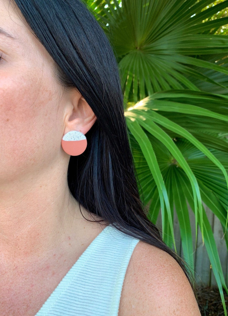 Colorblock large circle stud clay earrings image 0