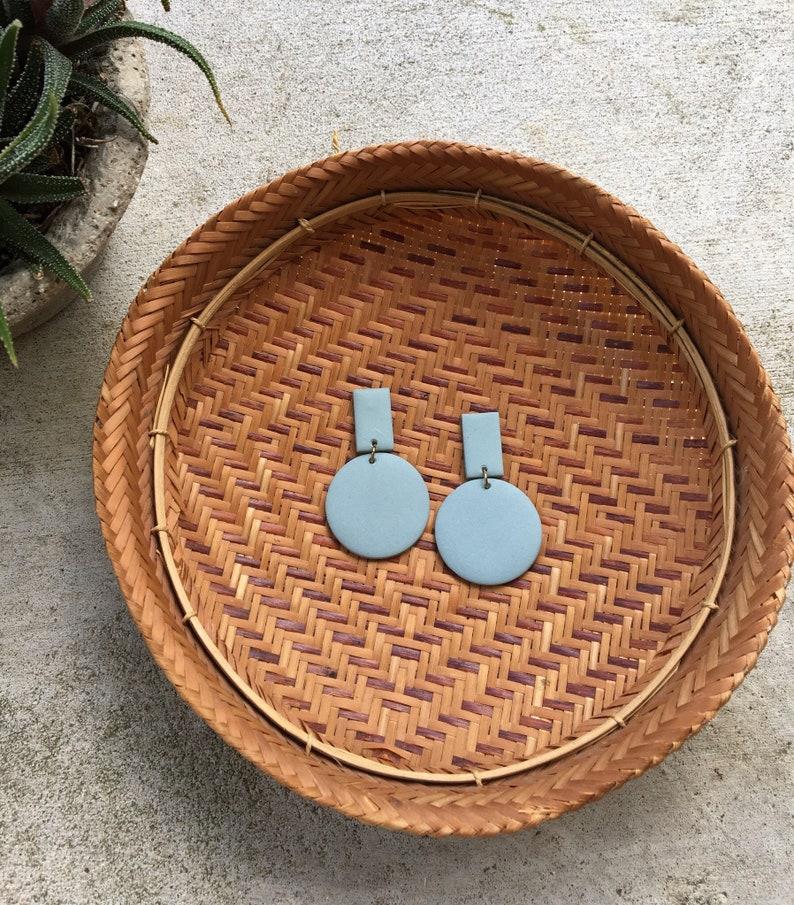 Bar and circle clay earrings image 0