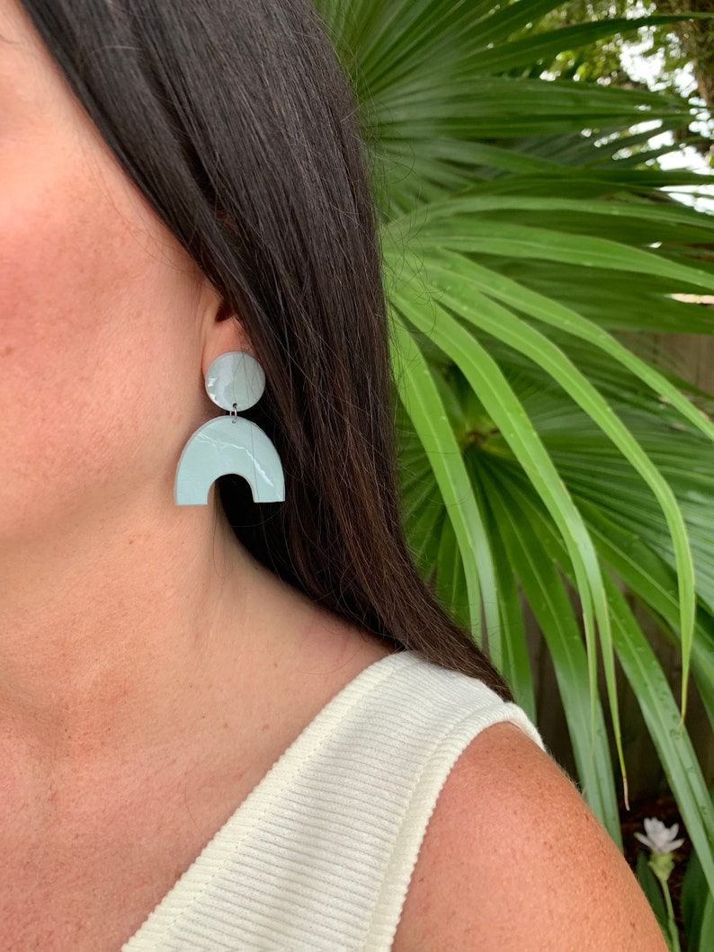Green Marbled Arch Clay Earrings image 0