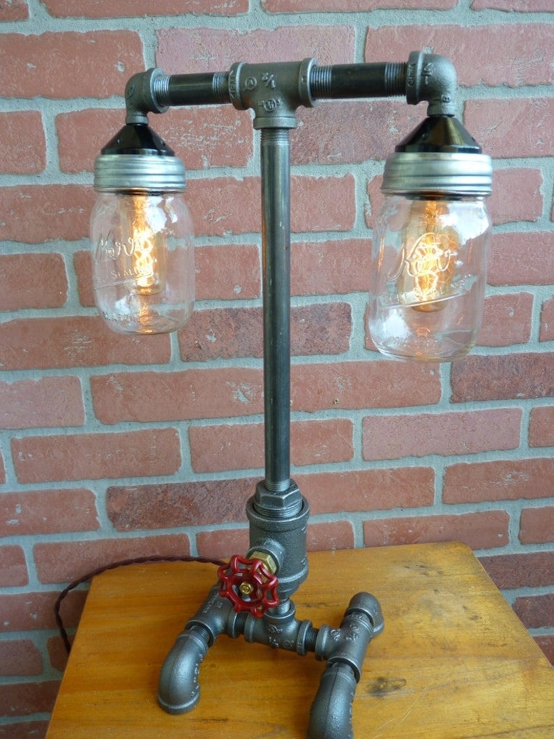 FAUCET HANDLE DIMMER Dual mason jar lamp antique style bulbs cloth cord faucet handle dimmer!