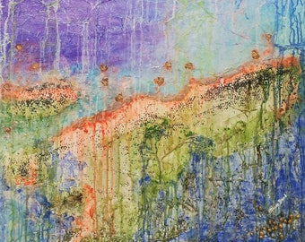 LARGE ABSTRACT canvas featured on TV original prophetic art painting rainbow earth textured spiritual mystical expressionism blue