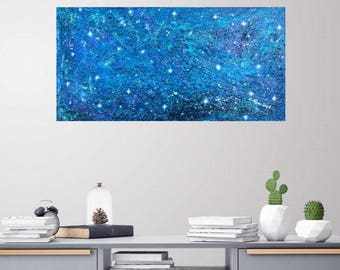 NOCTCAELADOR -NIGHT SKY Abstract original art prophetic textured blue stars galaxy constellation sweet dreams dreamy milky way iridescent