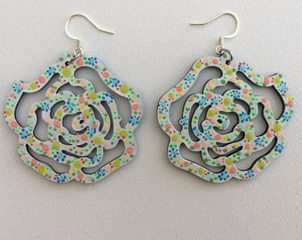 WEAR BOTH SIDES Rainbow bright earrings drop hoops boho hand painted textured large statement white black polka dots bubble art prophetic