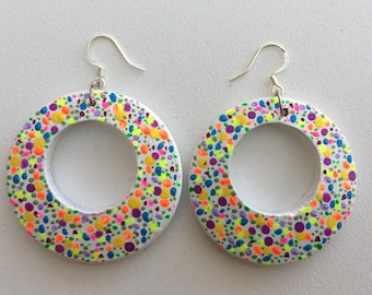 WEAR BOTH SIDES Rainbow bold bright earrings drop hoops boho hand painted textured large statement white dots polka dot bubble art prophetic