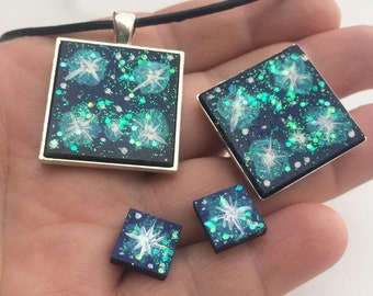 SOUTHERN CROSS STARS Indigo Blue constellation galaxy night sky iridescent opal prophetic jewellery set painted earrings studs necklace ring