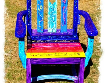 Rainbow Funky Vibrant Chair OOAK Uniquely hand painted Strong good quality wood colourful upcycled furniture art recycled happy hippie chair