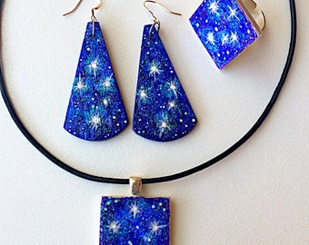 Indigo Southern cross stars constellation galaxy night sky iridescent opal prophetic jewellery set aqua hand painted ring earrings necklace