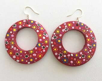 WEAR BOTH SIDES Rainbow bold bright earrings drop hoops boho hand painted textured large statement red dots polka dot bubble art prophetic