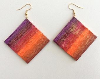WEAR BOTH SIDES Tribal ethnic earthy bright earrings hoop boho hand painted textured large statement orange purple magenta gold retro art