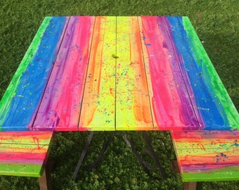 Rainbow furniture art colourful hand painted bright outdoor set patio verandah kids home table benches quirky upcycled boho hippie whimsical