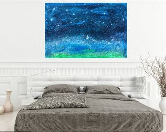 STARRY NIGHTS and sound of the OCEAN -abstract expressionism night sky seascape stars galaxy constellation landscape nature waves art large
