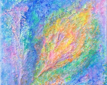 BUDDING NEW LIFE - prophetic art original painting abstract expressionism rainbow colourful textured flowers iridescent bright delicate