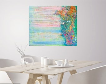 TIDES of CHANGE (New beginnings) Abstract art original bright colourful rainbow Texture large prophetic expressionism ocean wave tide sunset