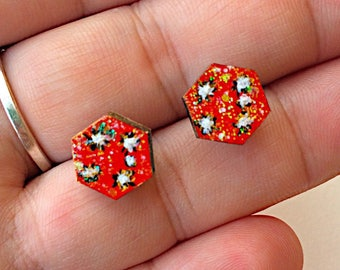 Red sky opal dust iridescent glow studs fireworks night Southern cross stars constellation galaxy gold white black hand painted earrings