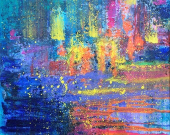 TRAVEL into the SUNSET Abstract landscape adventure rainbow colourful textured original art expressionism riverbank ocean cityscape painting