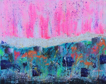 I will meet you on top of the MOUNTAIN -WINTER WONDERLAND Abstract art original bright colourful rainbow Texture large prophetic pink aqua