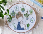 DIY kit, Embroidery hoop art, Embroidery Kit - Hair Bun Girl - Christmas art, Modern hand embroidery, Craft kit, Hand embroidery, Broderie