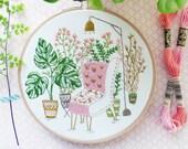 Diy kit, Plants Wall Art - Urban Jungle Embroidery Kit - Plants Embroidery Hoop, Tamar Nahir,Hand Embroidery,Leaves Embroidery,Botanical Art