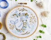 Mermaid Embroidery kit, Craftily creative, Gift idea - Mermaid Dreams - Embroidery Hoop Art, Diy Kit, Tamar Nahir, Ocean Sea Decor