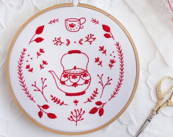 Redwork embroidery, Embroidery hoop art, Embroidery kit - Antique Red Kettle - Embroidery art, Christmas gifts for mom, Redwork christmas
