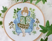 Modern hand embroidery, Embroidery kit - Reading Time - Wall Decor, Hand embroidery, Diy kit