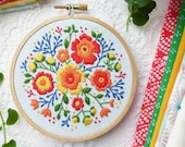 Colorful Flowers Hand Embroidery Kit - Embroidery Pattern, Embroidery Art, Hoop Art,Craft Kit,Broderie,Modern Embroidery,Advanced Embroidery