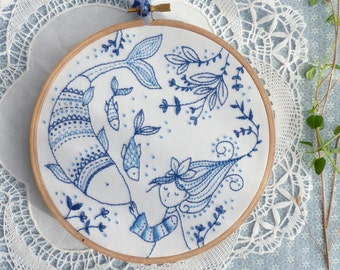 Blue wall art, Sea blue, Hand embroidery - Ocean Princess Embroidery kit - Blue white, Christmas gift, Embroidery hoop art, Christmas craft
