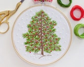 Christmas Tree Hand Embroidery Kit - Winter Christmas Embroidery, Christmas Diy Kit, Diy Gift, Christmas Hoop Art,Christmas Decor Embroidery