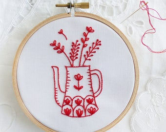 Redwork embroidery, Embroidery kit beginner, Christmas embroidery - Red Vase - Embroidery hoop art, Christmas gift for her, Redwork patterns