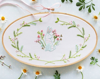 Easter bunny Embroidery Kit, Floral Spring Embroidery - Easter Bunny - Easter bunny decor, Easter wall art