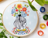 Floral Lady Embroidery Kit - DIY Hand Embroidery, Embroidery Gift, Floral Gift, Embroidery Girl, Floral Nursery, Floral Embroidery, Broderie