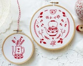 Discounted Bundle of 2 Embroidery Kits, Embroidery Redwork series - 'Red Vase', 'Antique Red Kettle'