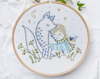 Embroidery hoop art, Embroidery kit, Winter embroidery - Winter Fox - Christmas ornaments, Hand embroidery, Diy kit,Embroidery art,Broderie