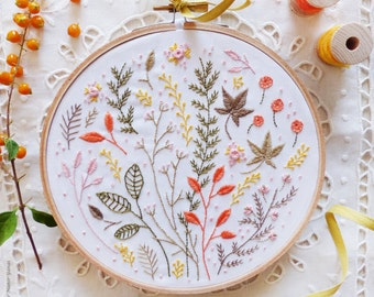 Modern hand embroidery, Craftily creative, Embroidery kit - Autumn Leaves - Wall Decor, Hand embroidery, Diy kit