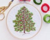 Christmas Tree Hand Embroidery Kit - Winter Christmas Embroidery, Christmas Diy Kit, Diy Gift, Christmas Hoop Art,Christmas Decor Embroidery