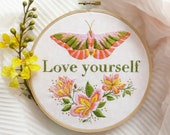 Love Yourself Hand Embroidery Kit - Inspirational Gift, Butterfly Nursery, Love Design, Broderie, DIY, Mom Gift, Needlecraft, Love Quotes