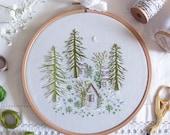 Snowy Night - Embroidery Art Kit, Art Gift Diy, Creative Diy, Craft Kit, Christmas Embroidery Gift, Wall Art Embroidery, Winter Decor Diy