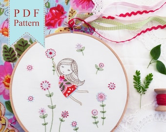 Girl in a Red Dress - Embroidery Pattern, Instant Download, Needlecraft Design