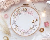 Wildflowers Circle  - Embroidery kit, Leaves embroidery, Botanical embroidery, wedding flower, Autumn, Wedding Embroidery Hoop