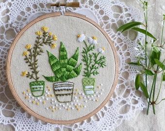Embroidery art, Christmas decoration, Craft kit - Houseplants - Embroidery kit, Diy kit, Diy embroidery kit, Kit broderie, Tamar Nahir