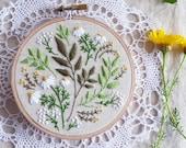 Green flowers, Embroidery kit, Christmas gift idea - Green Leaves - christmas gift for coworker, Embroidery Hoop Art, Diy Kit, Tamar Nahir