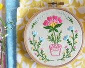 Hand Embroidery Kit, Embroidery Hoop Art, Wall Art - Flowerpot - Diy Kit, Broderie, Hoop Art, Tamar Nahir, Modern Hand Embroidery