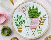 DIY Kit, Hand Embroidery - Pink & Green Houseplants - Embroidery Kit, Modern Embroidery, Hoop Art, Plants Wall Art, Plants craft, Broderie