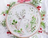 Modern Embroidery Kit, Deer embroidery - Christmas Deer - Xmas embroidery, diy kit, tamar nahir, Embroidery art, Deer wall art, Holiday gift