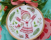 Ornament embroidery, Christmas embroidery, Embroidery kit - Christmas Girl - Christmas ornament, Diy Christmas, Christmas tree, broderie