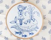 Blue wall art, Sea blue, Hand embroidery - Girl and a Whale - Blue white, Embroidery kit, Embroidery hoop art, Christmas craft