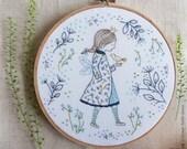 Christmas wall art, Fairy princess, Fairy wall art - Winter Fairy - Baby girl embroidery, Hand embroidery kit, Homemade craft, diy craft kit