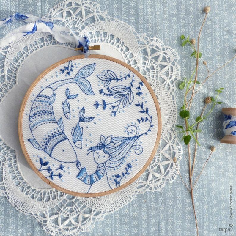 Blue wall art Sea blue Hand embroidery  Ocean Princess image 0