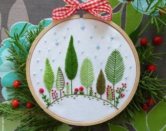 Christmas gift, Christmas ornament, Winter embroidery - Christmas Forest - Embroidery kit, Christmas tree ornament,Holiday decor,Tamar Nahir
