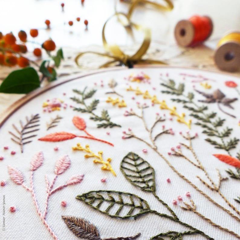 Wall Decor Modern hand embroidery Diy kit Autumn Leaves Hand embroidery Embroidery kit Craftily creative
